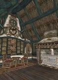 Interior de la cabaña pintoresca libre illustration