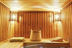 Interior de la cabina moderna de la sauna Imágenes de archivo libres de regalías