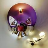 Interior de la casa en poco estilo de la opinión del planeta Fotografía de archivo