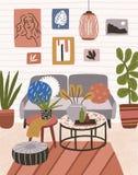 Interior de la casa moderna con el sofá, mesa de centro, luz pendiente, otomanos, imágenes de la pared Sala de estar o apartament libre illustration