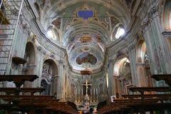Interior de la catedral de Cervo, Italia Foto de archivo libre de regalías