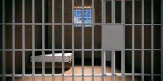 Interior de la celda de prisión Primer bloqueado de la puerta, fondo oscuro de sitio de la cárcel ilustración 3D stock de ilustración