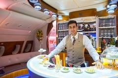 Interior de la clase de negocios de Airbus A380 de los emiratos Fotos de archivo