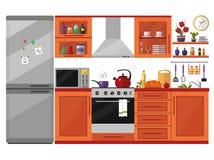 Interior de la cocina con los utensilios, la comida y los dispositivos Foto de archivo libre de regalías
