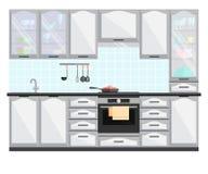 Interior de la cocina con muebles y el equipo Ejemplo plano del vector Fotos de archivo