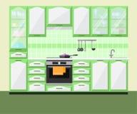 Interior de la cocina con muebles y el equipo Vector Foto de archivo libre de regalías