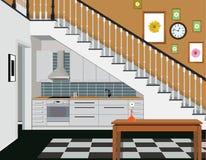 Interior de la cocina debajo de las escaleras con muebles Diseño de cocina moderna Símbolo de los muebles, cocina Imágenes de archivo libres de regalías