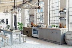 Interior de la cocina del desván del ático Imagenes de archivo