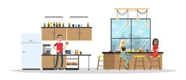 Interior de la cocina del estudio del diseño libre illustration