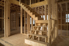 Interior de la construcción de la nueva casa Fotos de archivo libres de regalías