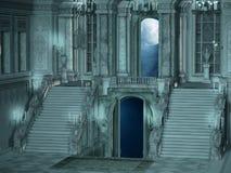 Interior de la escalera del palacio ilustración del vector