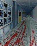 Interior de la escuela vieja abandonada asustadiza ilustración del vector