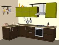 Interior de la esquina moderno verde y marrón de la cocina Fotos de archivo