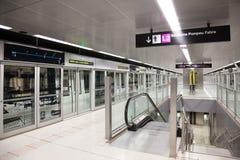 Interior de la estación de metro Gorg en el metro de Barcelona Fotos de archivo libres de regalías