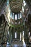Interior de la iglesia-abadía de Mont-Santo-Miguel Imagen de archivo libre de regalías