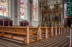 Interior de la iglesia católica del St Mauricio de la parroquia en Appenzel Fotografía de archivo