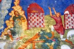 Interior de la iglesia con los frescos originales del siglo XVII Foto de archivo