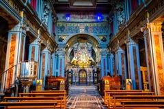 Interior de la iglesia de la abadía de Santa Maria en Grottaferrata Imagen de archivo libre de regalías