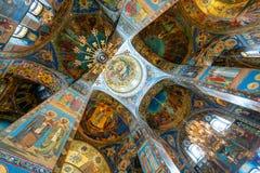 Interior de la iglesia del salvador en sangre derramada, St Petersburg imágenes de archivo libres de regalías