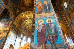 Interior de la iglesia del salvador en sangre derramada, St Petersburg fotos de archivo libres de regalías