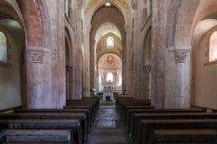 Interior de la iglesia en Gourdon foto de archivo libre de regalías