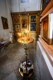 Interior de la iglesia ortodoxa rusa Imagen de archivo libre de regalías