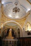 Interior de la iglesia de San Juan Bautista en Málaga, España fotografía de archivo libre de regalías