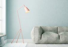 Interior de la maqueta con un cartel y una lámpara de pie Color de la tendencia 3d Fotos de archivo libres de regalías