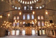 Interior de la mezquita azul Foto de archivo libre de regalías