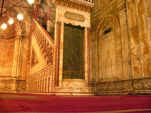 Interior de la mezquita de Mohammed Ali imagenes de archivo