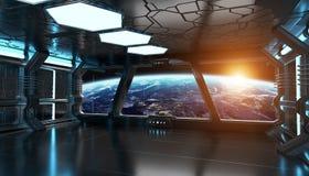 Interior de la nave espacial con la opinión sobre la tierra 3D del planeta que rinde el EL Fotografía de archivo libre de regalías