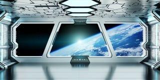 Interior de la nave espacial con la opinión sobre la tierra 3D del planeta que rinde el EL Imágenes de archivo libres de regalías