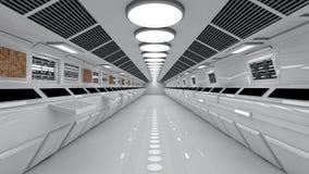 Interior de la nave espacial, visión de centro con el piso