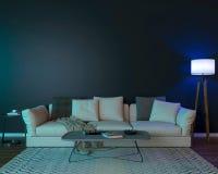 Interior de la noche con las luces coloreadas azules foto de archivo