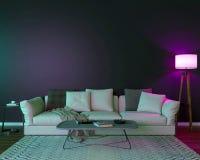 Interior de la noche con las luces coloreadas púrpuras fotos de archivo libres de regalías