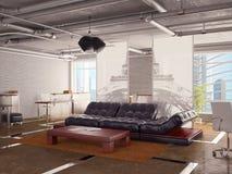 Interior de la oficina con el sofá Imágenes de archivo libres de regalías