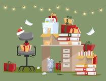 Interior de la oficina con la pila de regalos en la tabla con los documentos en carpetas y cajas Las pilas de documentos son cerc libre illustration