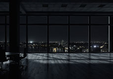 Interior de la oficina de la noche Técnicas mixtas imagen de archivo libre de regalías