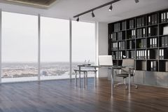 Interior de la oficina del CEO, vista lateral del estante para libros ilustración del vector