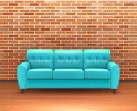 Interior de la pared de ladrillo con Sofa Realistic Imagen de archivo libre de regalías