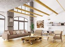Interior de la representación moderna de la sala de estar 3d Foto de archivo libre de regalías