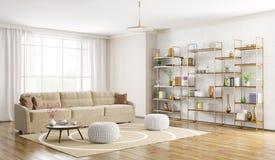Interior de la representación moderna de la sala de estar 3d Foto de archivo