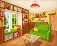Interior de la sala de estar con el estante para libros, el sofá y la tabla Ilustración del vector Imagen de archivo libre de regalías