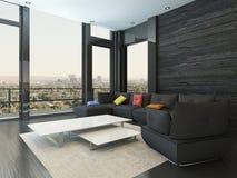 Interior de la sala de estar con el sofá negro con las almohadas coloreadas stock de ilustración