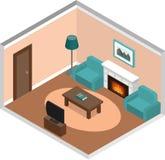 Interior de la sala de estar con la chimenea en estilo isométrico Fotos de archivo libres de regalías