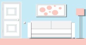 Interior de la sala de estar con la puerta y muebles blancos, sofá blanco y animación de la historieta de la imagen en 4K almacen de metraje de vídeo