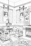 Interior de la sala de estar en Art Nouveau Fotografía de archivo libre de regalías