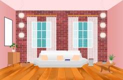 Interior de la sala de estar en estilo del inconformista con el marco, el sofá, las lámparas y el piso de madera fotos de archivo libres de regalías