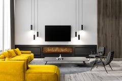 Interior de la sala de estar con la TV stock de ilustración