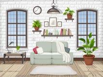 Interior de la sala de estar del desván Ilustración del vector ilustración del vector